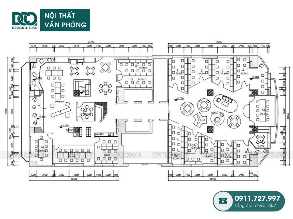 Hồ sơ dự án thiết kế nội thất văn phòng Coworking 519 Kim Mã
