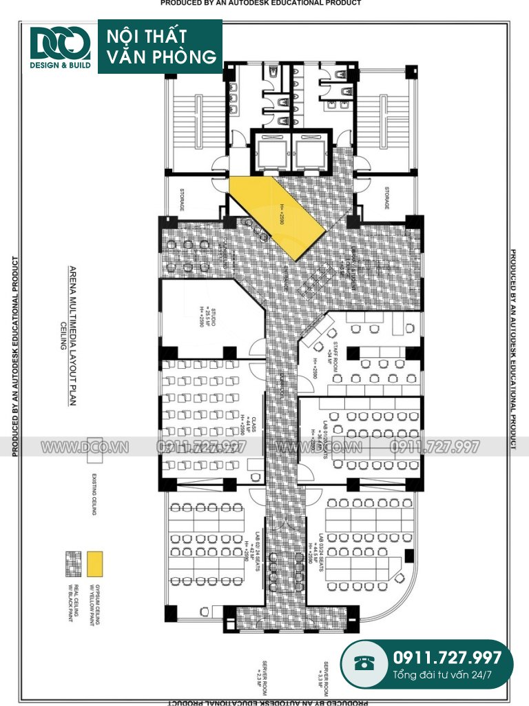 Bản vẽ mẫu nội thất văn phòng 100 chỗ Arena Multimedia