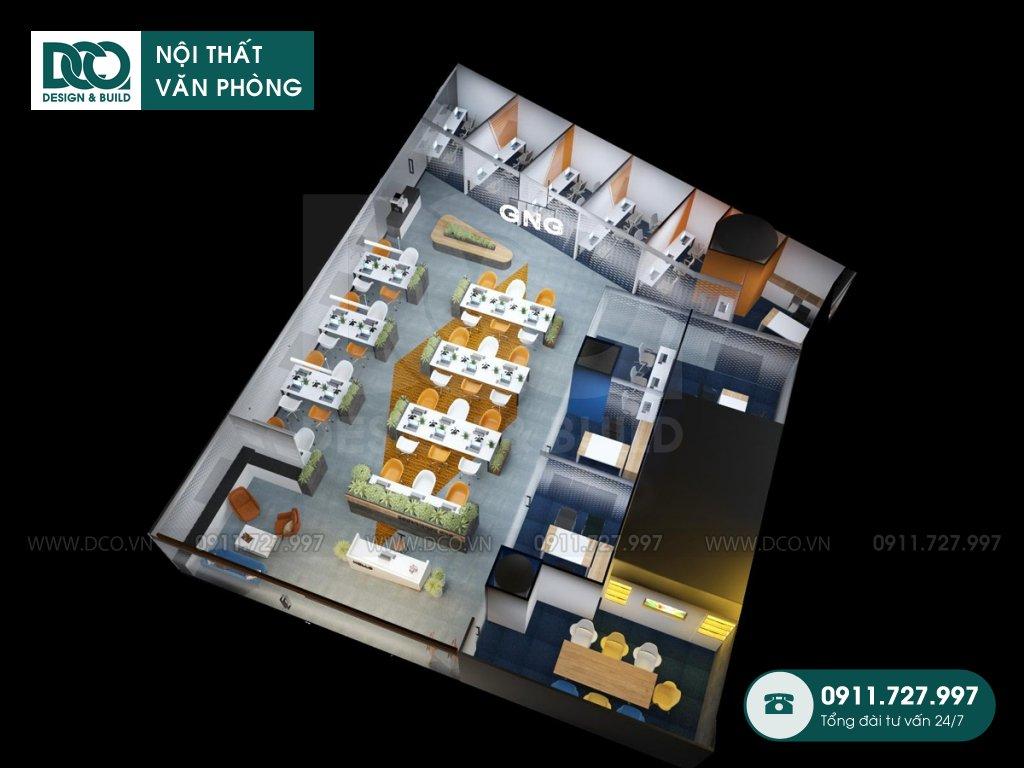 Bản vẽ mẫu nội thất văn phòng 250m2 khu 1 GNG Media