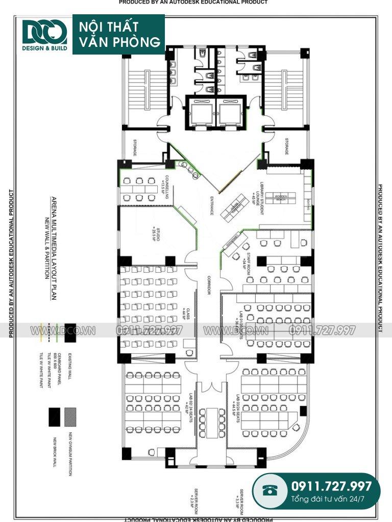 Hồ sơ dự án thiết kế nội thất văn phòng Arena Multimedia