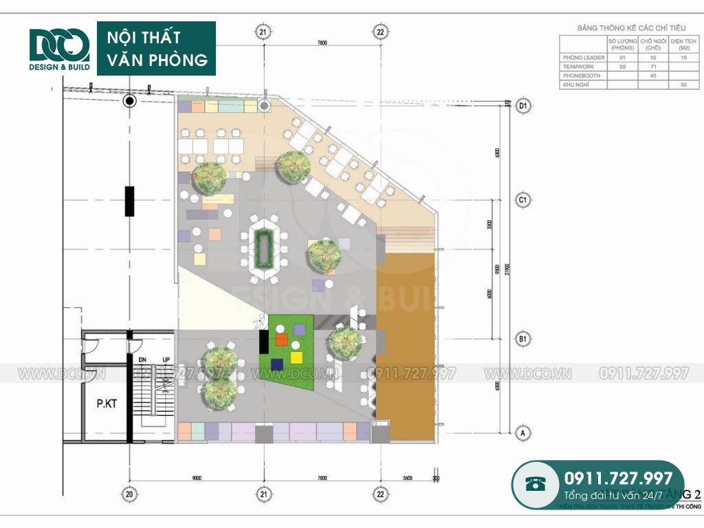 Bản vẽ mẫu nội thất văn phòng công ty BĐS CENLAND