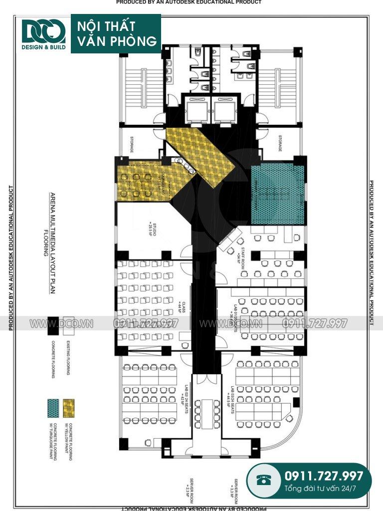 Thiết kế &Thi công nội thất văn phòng 100 chỗ Arena Multimedia