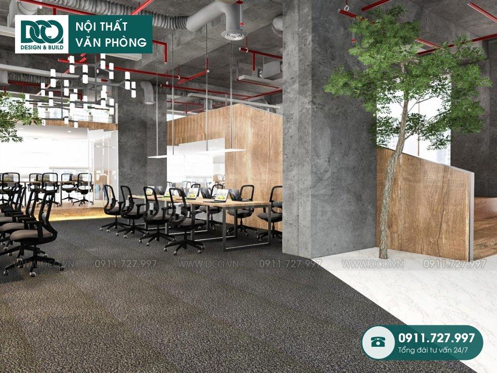 Thiết kế &Thi công nội thất văn phòng 120 chỗ tại The Golden Palm