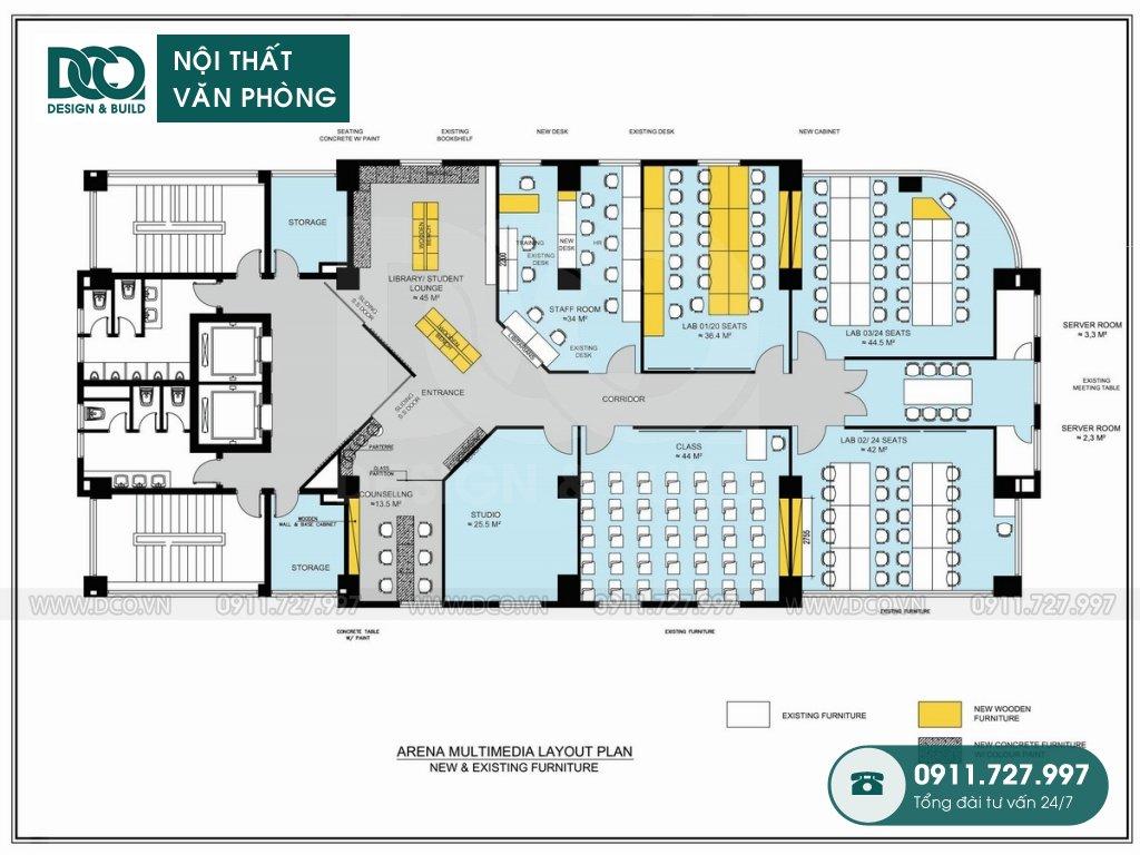 Thiết kế &Thi công nội thất văn phòng 400m2 Arena Multimedia