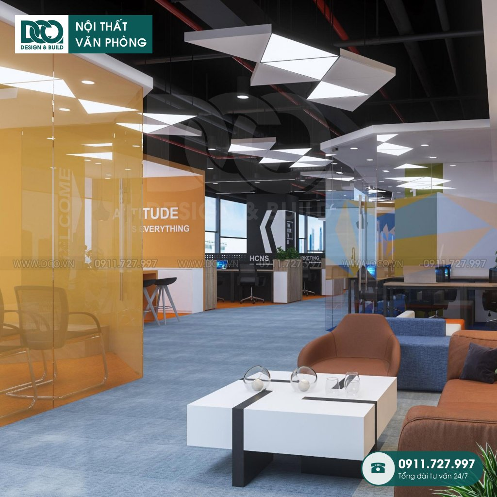 Thiết kế &Thi công nội thất văn phòng 97 chỗ khu 2 GNG Media
