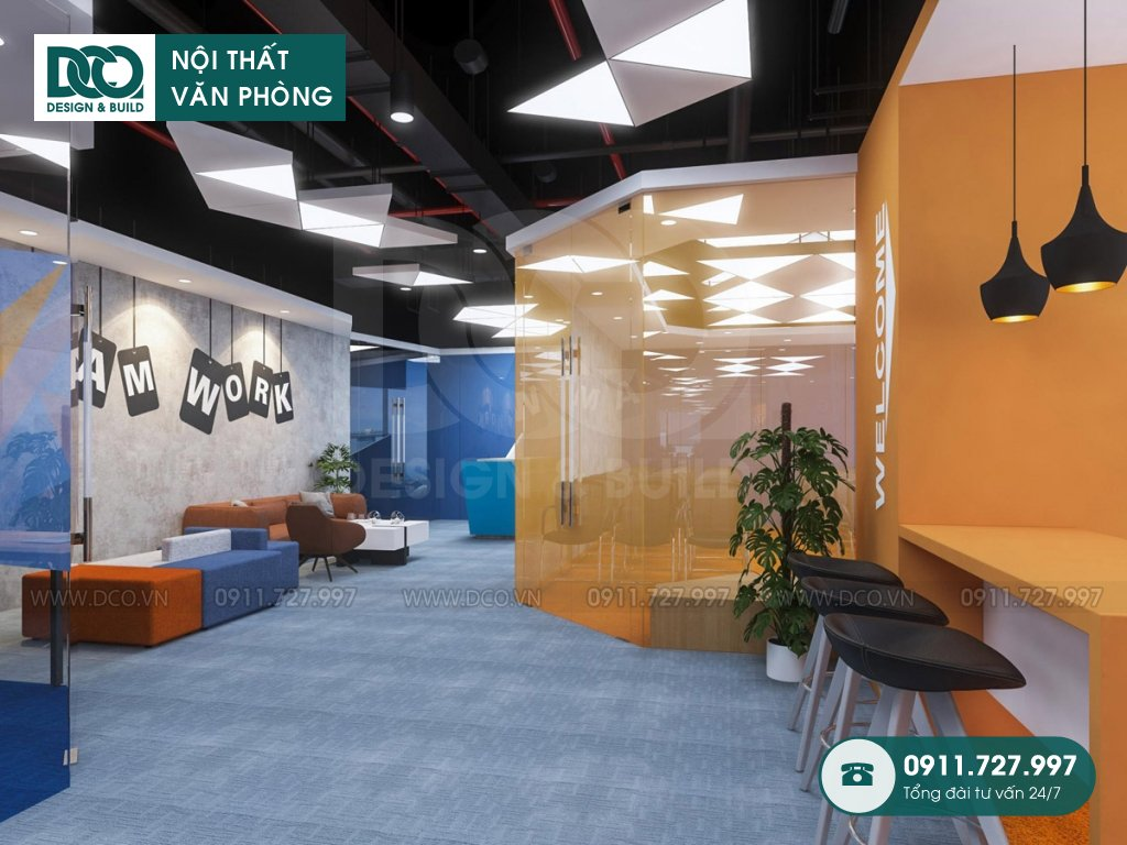 Thiết kế nội thất văn phòng 97 chỗ khu 2 GNG Media