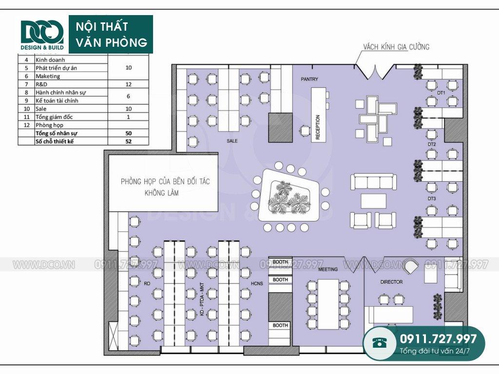 Mẫu nội thất văn phòng 52 chỗ tại Royal City