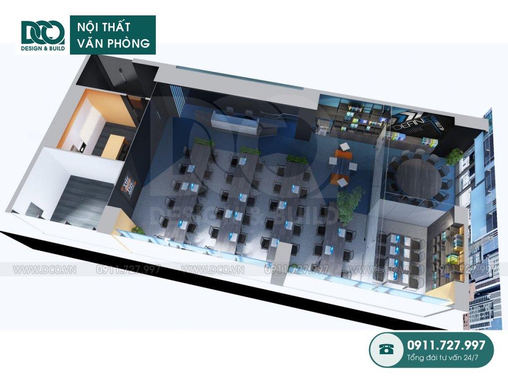 Bản vẽ mẫu nội thất văn phòng 62 chỗ tại 138 Trần Bình