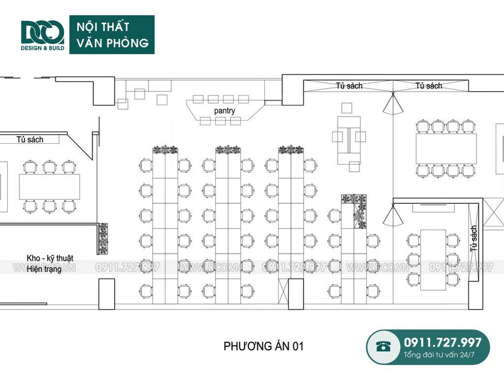 Mẫu nội thất văn phòng 62 chỗ tại 138 Trần Bình