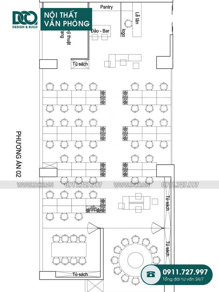 Hồ sơ mẫu nội thất văn phòng 62 chỗ tại 138 Trần Bình