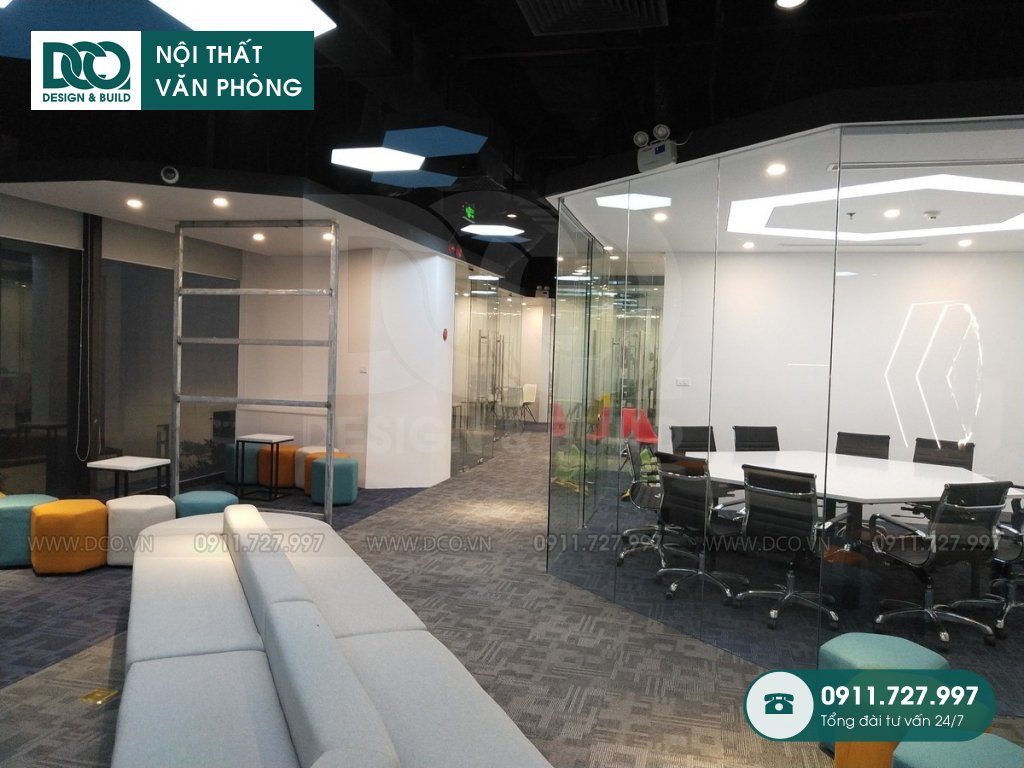 Thi công nội thất Coworking Space Goldent Net