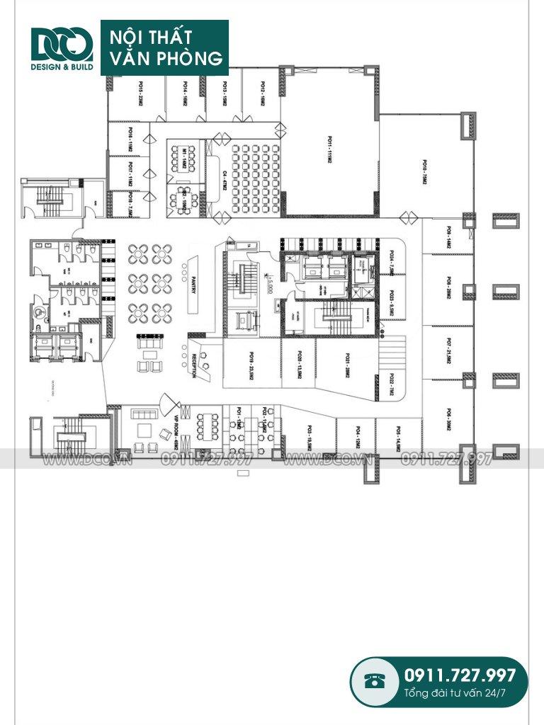 Bản vẽ cải tạo nội thất Coworking Space mẫu 2 (1)
