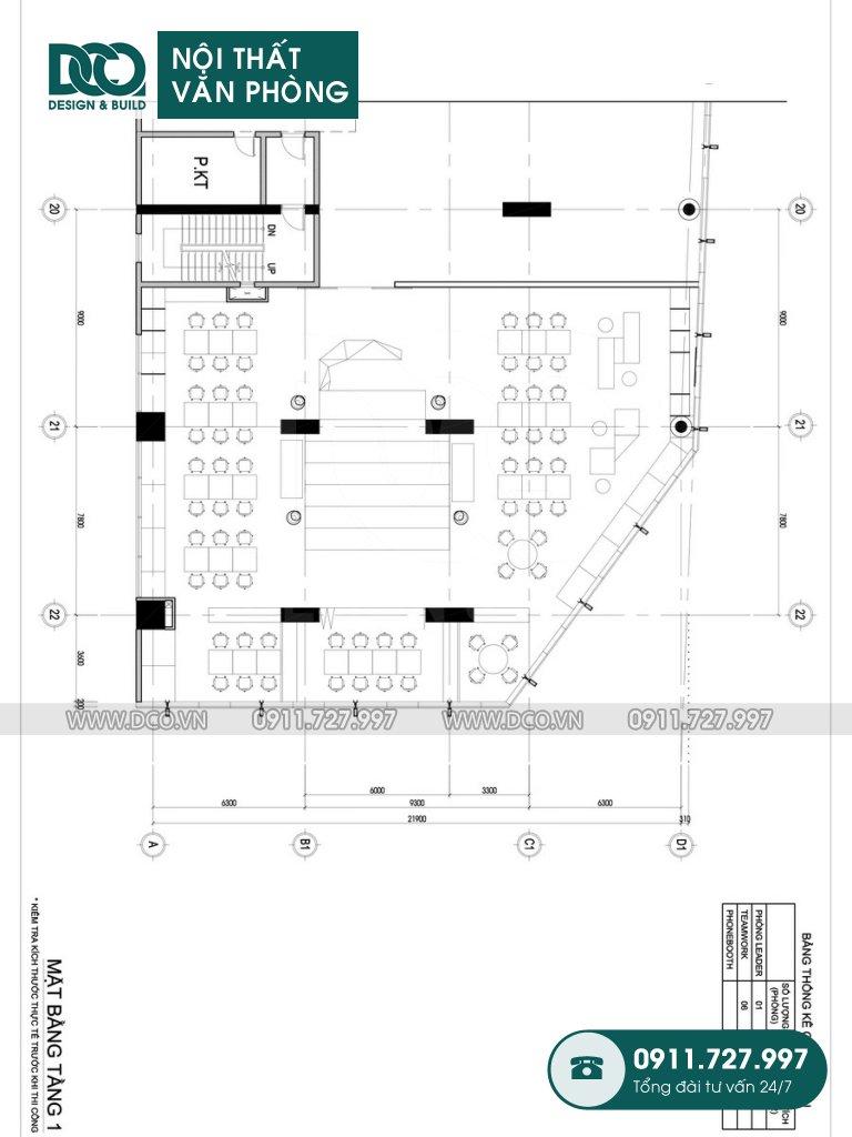 Hồ sơ bản vẽ cải tạo nội thất Coworking Space