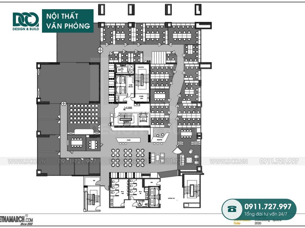 Thiết kế nội thất Coworking Space công ty Hoàn Mỹ