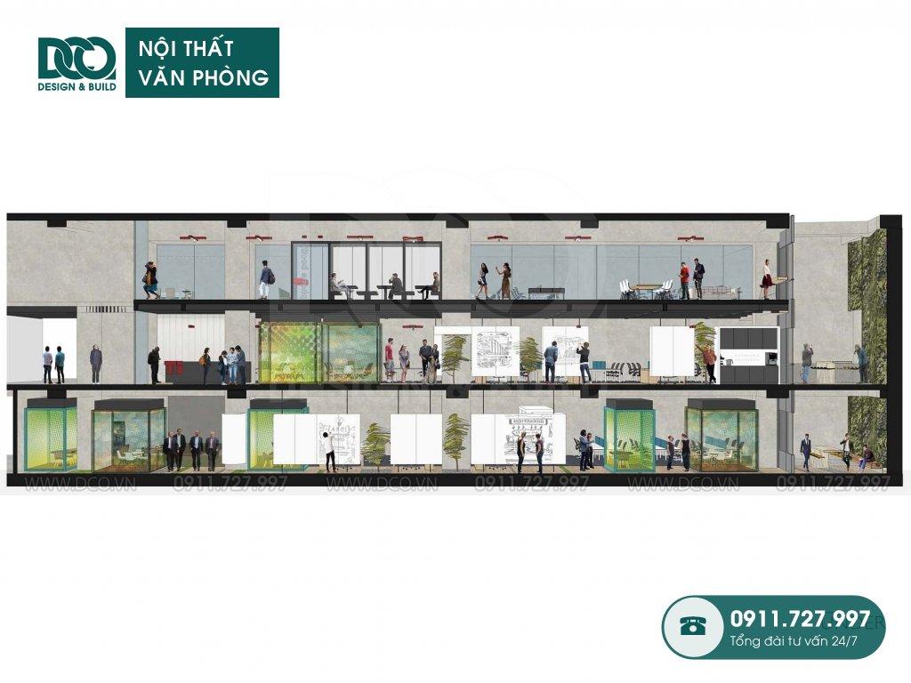 Bản vẽ cải tạo nội thất khu làm việc chung tại TP. HCM
