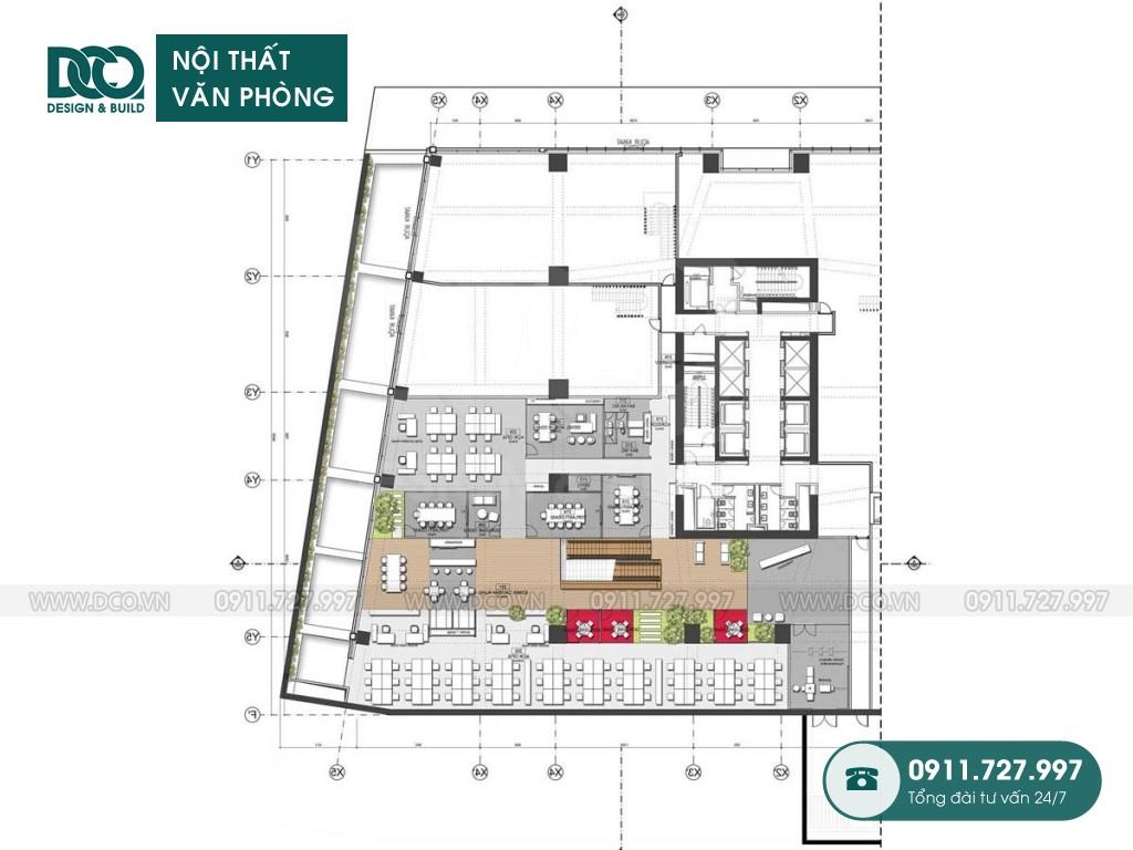 Dự toán thiết kế nội thất khu làm việc chung